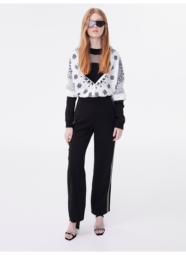 Twist Trok Şeritli Yüksek Bel Pantolon Siyah